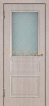 3513, Дверь Римини (объемный багет) крем, остекленная, 27026, 4 865.00 р., 3513-01, , Двери облицованные ПВХ