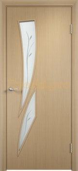 716, Дверь Тип С-02 беленый дуб, остекленная с фьюзингом, 29469, 2 550.00 р., 716-01, , Двери в финиш-пленке