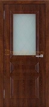 3516, Дверь Римини (объемный багет) коньяк, остекленная, 27029, 4 865.00 р., 3516-01, , Двери облицованные ПВХ