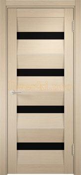 1508, Дверь Сицилия 12 беленый дуб, остекленная, черный триплекс, 18978, 9 470.00 р., 1508-01, , Двери экошпон Премиум