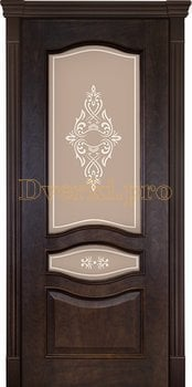 3144, Дверь Алина-2 кофе, остекленная, 22385, 11 340.00 р., 3144-01, , Двери шпон Комфорт