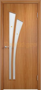 840, Дверь Тип С-07 миланский орех, остекленная с фьюзингом, 13063, 2 465.00 р., 840-01, , Двери в финиш-пленке