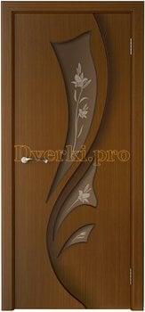 3225, Дверь Лидия орех, остекленная, 15441, 5 955.00 р., 3225-01, , Двери шпон Стандарт
