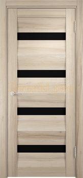 1536, Дверь Сицилия 12 капучино, остекленная, черный триплекс, 19008, 9 660.00 р., 1536-01, , Двери экошпон Премиум