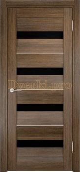 1496, Дверь Сицилия 12 венге мелинга, остекленная, черный триплекс, 18966, 9 660.00 р., 1496-01, , Двери экошпон Премиум