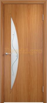 722, Дверь Тип С-06 миланский орех, остекленная с фьюзингом, 12472, 2 040.00 р., 722-01, , Двери в финиш-пленке