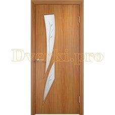 Дверь Тип С-02 миланский орех, остекленная с фьюзингом