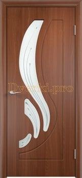 252, Дверь Лиана итальянский орех, остекленная, 11169, 4 490.00 р., 252-01, , Двери облицованные ПВХ