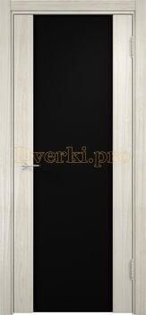 1146, Дверь Сан-Ремо 01 беленый дуб мелинга, остекленная, черный триплекс, 17140, 10 625.00 р., 1146-01, , Двери экошпон Премиум