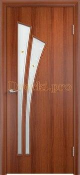 841, Дверь Тип С-07 итальянский орех, остекленная с фьюзингом, 13064, 2 470.00 р., 841-01, , Двери в финиш-пленке