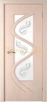 3204, Дверь Вега беленый дуб, остекленная, 14808, 6 750.00 р., 3204-01, , Двери шпон Стандарт