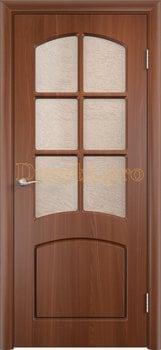 416, Дверь Кэрол итальянский орех, остекленная, 11523, 4 595.00 р., 416-01, , Двери облицованные ПВХ