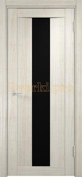 1331, Дверь Сицилия 02 беленый дуб мелинга, остекленная, черный триплекс, 18546, 9 660.00 р., 1331-01, , Двери экошпон Премиум