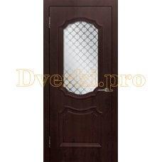 Дверь Асти (объемный багет) шоколад, остекленная