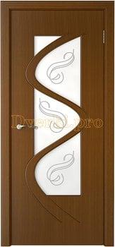 3203, Дверь Вега орех, остекленная, 14794, 6 280.00 р., 3203-01, , Двери шпон Стандарт