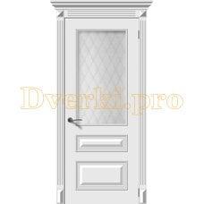 Дверь Багет 3 белая эмаль, остекленная
